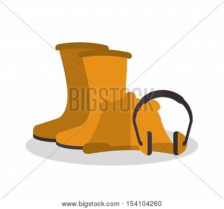 Headphone helmet and boots icon. Industrial safety security and protection theme. Colorful design. Vector illustration