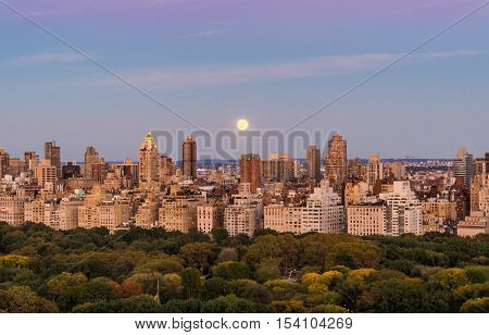 Hunter's Moon rising over Manhattan looking over Central Park