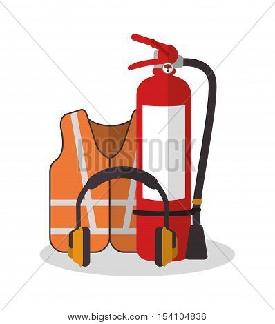 Jacket and headphone icon. Industrial safety security and protection theme. Colorful design. Vector illustration