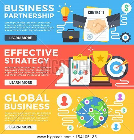 Business partnership, effective strategy, global business flat illustration concepts set. Flat design graphic for web banners, web sites, printed materials, infographics. Modern vector illustrations