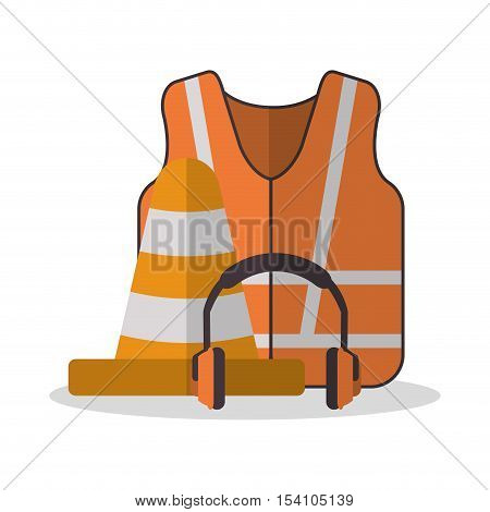 Jacket cone and headphone icon. Industrial safety security and protection theme. Colorful design. Vector illustration