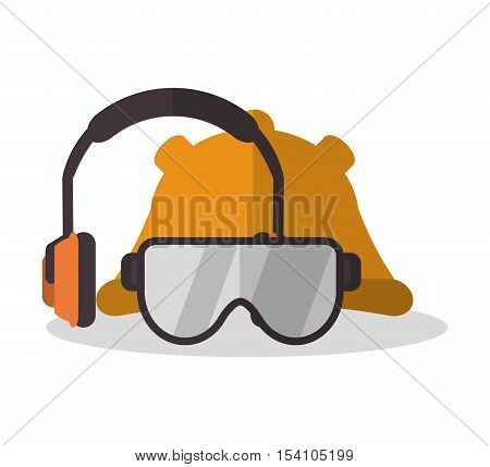 Headphone glasses and helmet icon. Industrial safety security and protection theme. Colorful design. Vector illustration