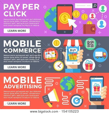 Pay per click, mobile commerce, internet business, mobile advertising flat illustration concepts set. Flat design graphic for web sites, web banner, printed materials, infographic. Vector illustration