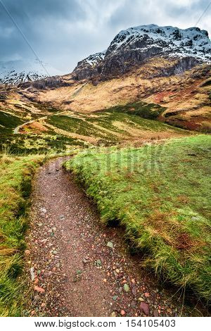 Mountain footpath in famous place Glencoe Scotland