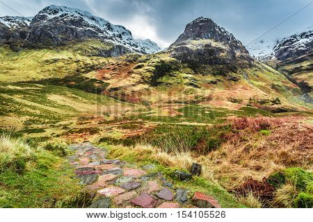 Famous place Glencoe in winter Highland Scotland