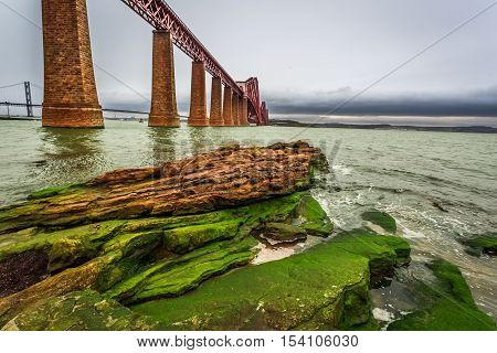 Bridge Firth of Forth and bay in autumn