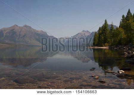 A pristine lake in Glacier National Park