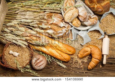 Various Kinds Of Fresh Baked Bread With Grain