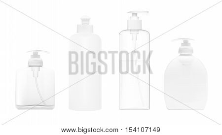 Realistic Cosmetic Bottle Set. Dispenser For Cream, Soap And Other Cosmetics