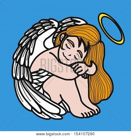 Angel prayer cute and sweet cartoon illustration