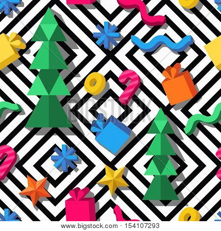 Vector Seamless Geometric Pattern. 3D Stylized Christmas And New Year Icons On Monochrome Background