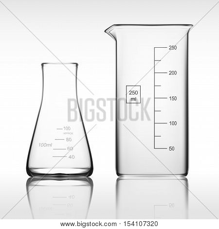 Two Chemical Laboratory Glassware Or Beaker. Glass Equipment Empty Clear Test Tube