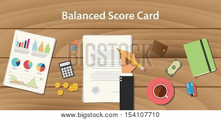 balanced score card concept illustration with business man working on paper document vector