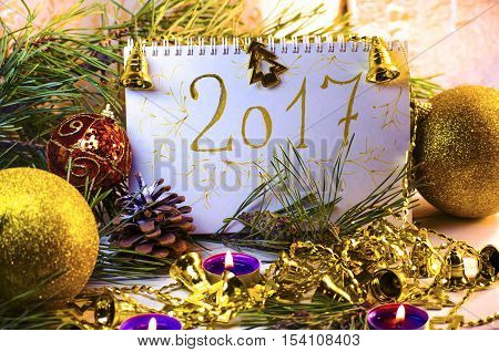 Christmas decorations and the upcoming new year calendar
