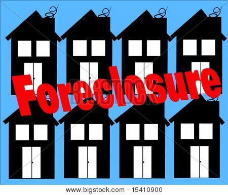 Vector Houses Foreclosure Sign