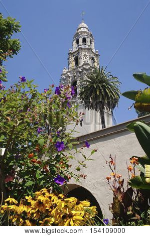 California Tower at The Museum of Man in Balboa Park, San Diego.  This photo was taken from the Alcazar Garden.