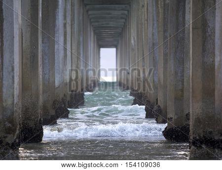 View under the Scripps Pier in La Jolla California
