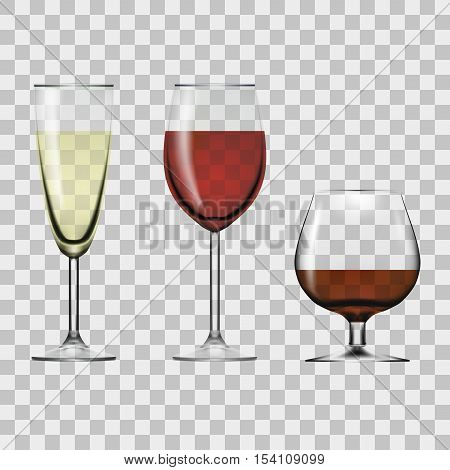 Transparent Glass Full Of Wine, Champagne And Cognac. EPS10 Vector