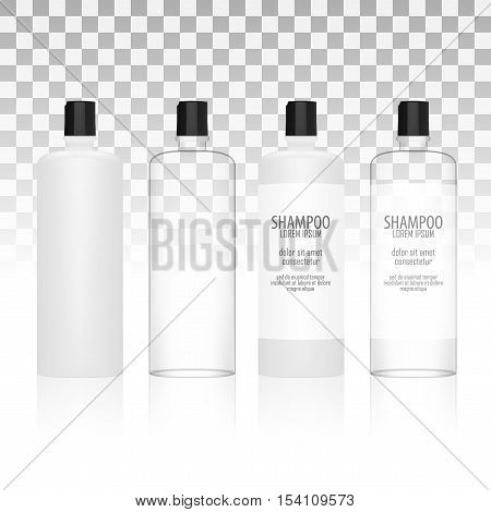 Set Of Round Cosmetic Or Hygiene Plastic Bottles With Label Of Gel, Liquid Soap, Lotion, Cream, Shampoo. EPS10 Vector