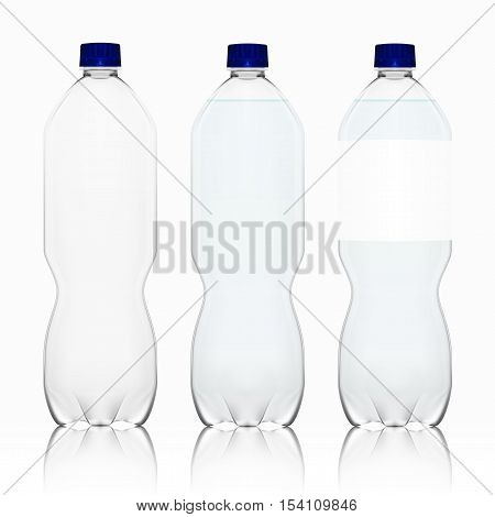 Realistic Transparent Empty Clean Plastic Bottle With Label Placeholder Template. EPS10 Vector