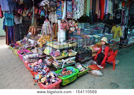 Khmer Cloths For Sale At A Market