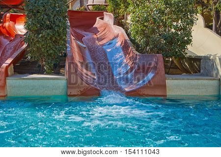 Water Slide and Pool in Resort Aqua Park