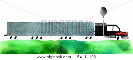 Beautiful cartoon wagon isolated on white background. Hand drawn watercolor wagon with green grass for your design.