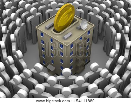 Contribution to the construction or major repairs of apartment building. Isolated. 3D Illustration