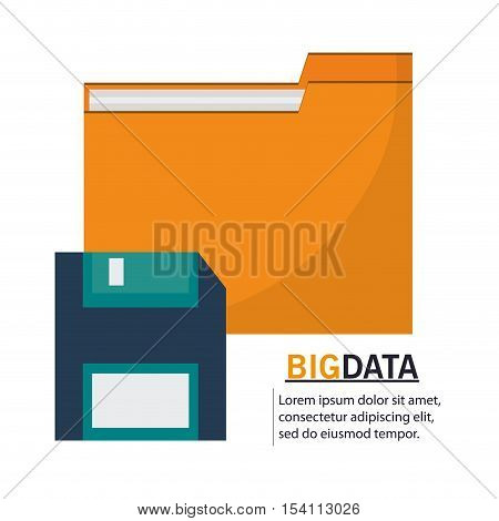 File and diskette icon. Big data center base and information theme. Colorful design. Vector illustration