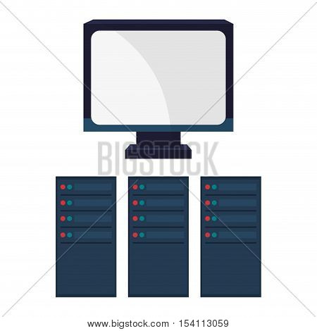 Computer and web hosting icon. Big data center base and information theme. Colorful design. Vector illustration