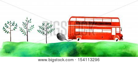 Beautiful cartoon double decker bus isolated on white background. Hand drawn watercolor double decker bus with green grass and trees for your design.