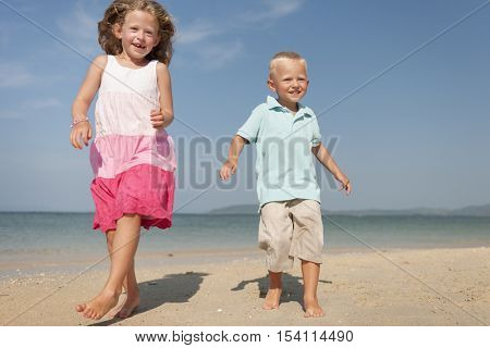 Sibling Brother Sister Beach Carefree Cheerful Concept