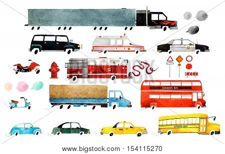 Big set of watercolor cars. Beautiful cartoon cars isolated on white background. Hand drawn watercolor cars for your design.