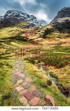Glencoe in Winter Highland in Scotland at autumn