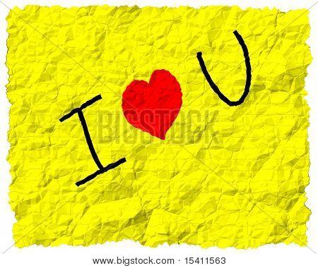 I Love You Crumpled Note