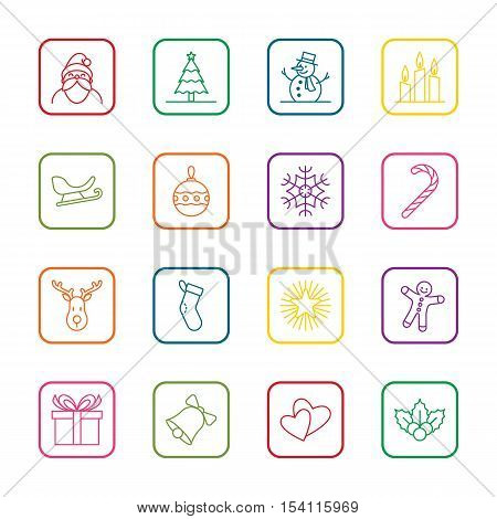 Christmas and new year icon set vector illustration - colorful outline with rounded rectangle frame