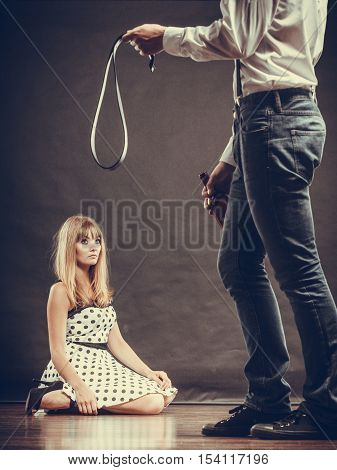 Man Alcoholic Beating His Scared Woman With Belt
