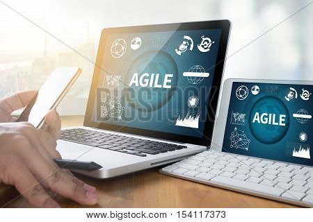 AGILE Agility Nimble Quick Fast Concept businessman