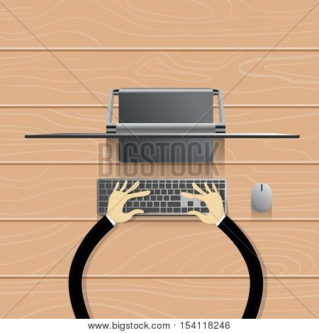 Desktop Modern Computer Workstation Hands Typing Keyboard Vector Illustration