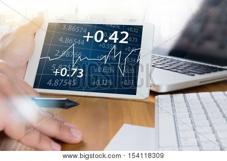 Business Team Workin Economics And Graphs Interfaces Market Stock Project Manager Researching Proces