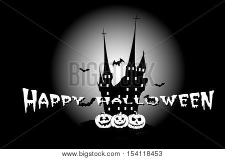 Halloween poster with haunted house, pumpkins, flying bats. Vector illustration