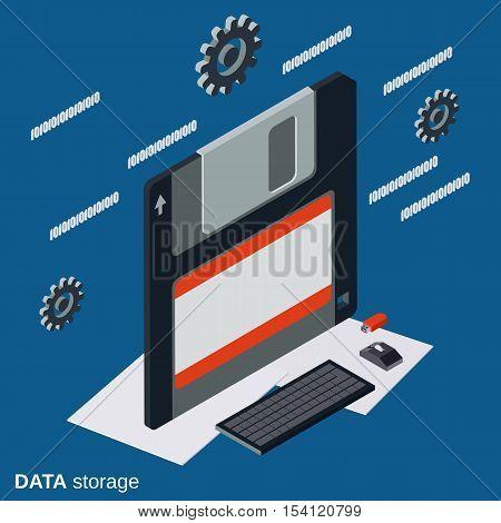 Data storage flat isometric vector concept illustration