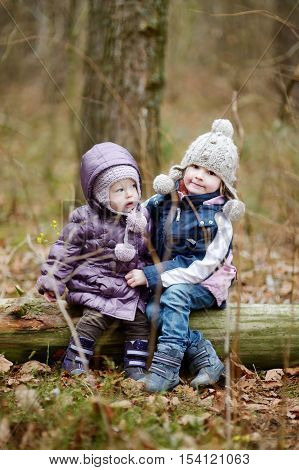 Two Sisters Sitting On A Log