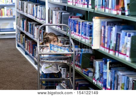A Preschool girl selects books in a library.