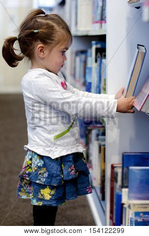 A Preschool girl selecting book in library.