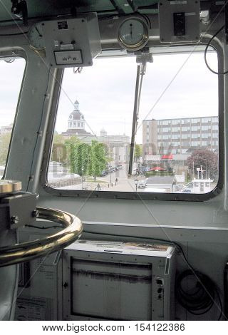 Wheelhouse of warship Sweeper Kingston in mooring Kingston Canada May 19 2008