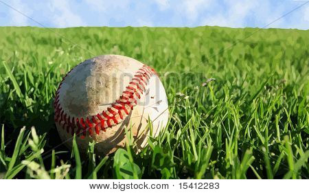 Vector Baseball On Grass, Also See Photo In My Portfolio
