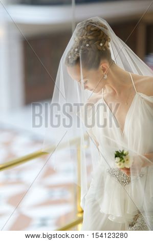 The beautiful bride getting ready for her wedding