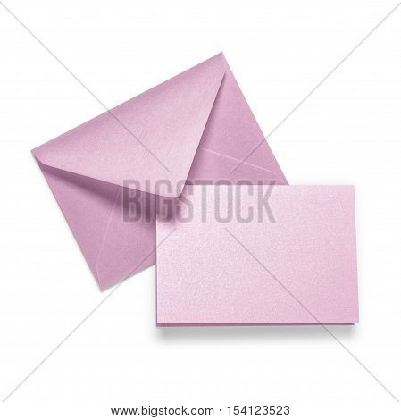 Lilac envelope with greeting card on white background. Copy space. Objects group with clipping path