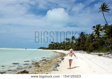 Young Woman Relaxing On Deserted Tropical Island